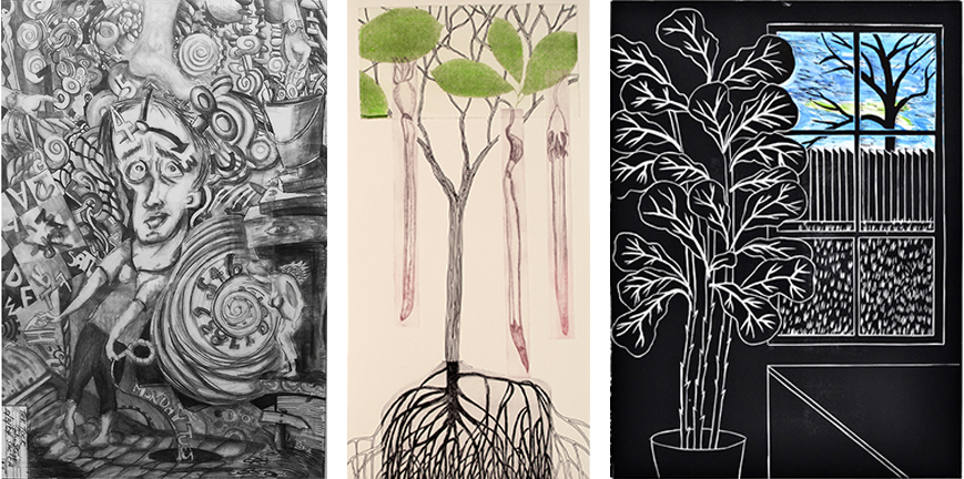 Artworks by (L-R) Julia Stagg, Barbara Milman, and Dixie Laws for Matrix Revisted, an exhibition at SMUD gallery, July 14 - Sept. 11, 2017.